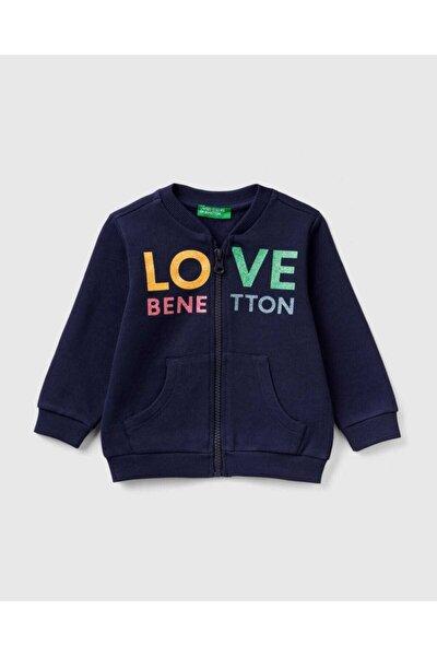 Kız Çocuk Lacivert Benetton Yazılı Sweatshirt