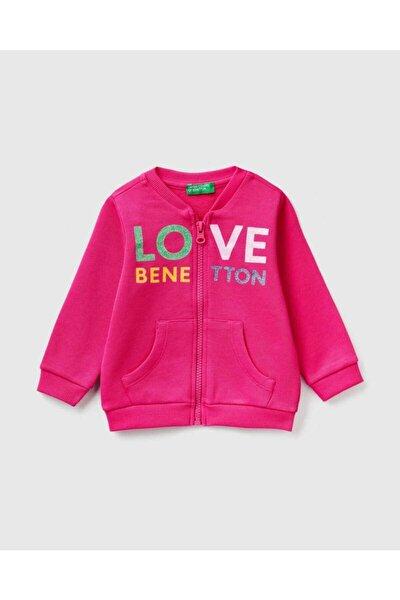 Kız Çocuk Pembe Yazılı Sweatshirt