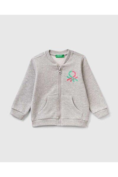 Benetton Kız Çocuk Gri Yazılı Sweatshirt