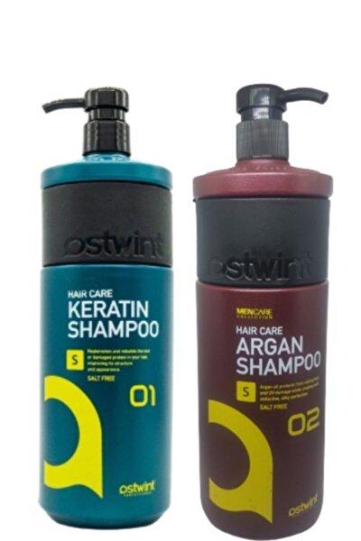Tuzsuz Sülfatsız Keratinli Saç Bakımı Şampuanı1000ml& Arganyağlı Tuzsuzşampuan 1000ml