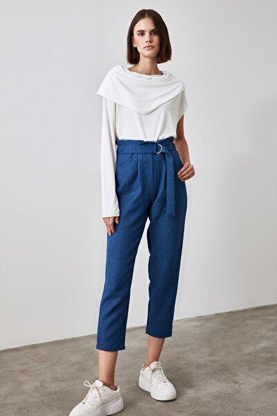 Lacivert Bağlama Detaylı Pantolon TWOAW21PL0316