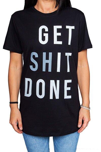 Get Shit Done Yazılı Siyah T-shirt
