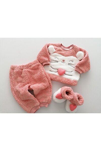 Kız Bebek Pembe Welsoft Kalp Detaylı Panduflu 2'li Takım