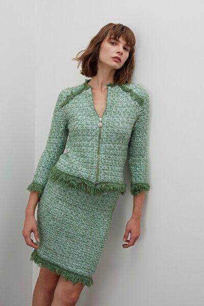 Fermuarlı Püsküllü Pullu Triko Ceket - Yeşil Multi