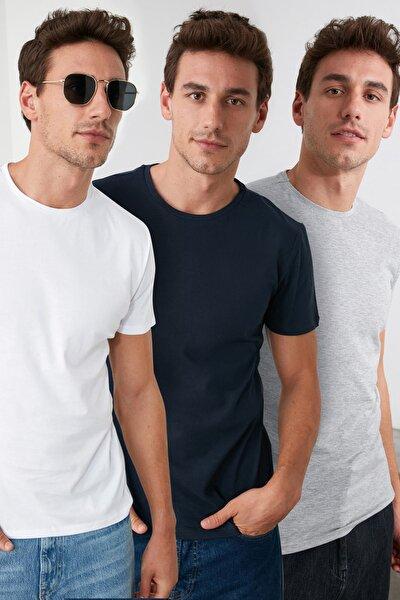 Çok Renkli Erkek Basic Slim Fit T-Shirt - 3'lü Paket TMNSS19BO0008