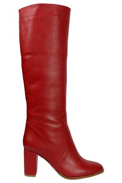 Kadın Kırmızı Hakiki Deri Flotur Çizme