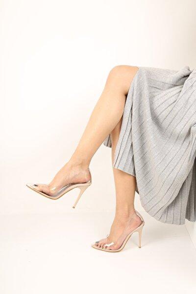 Kadın Ten Sefaf Topuklu Ayakkabı