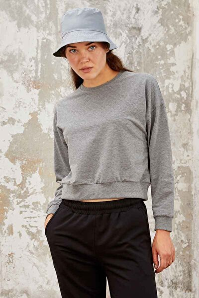 Kadın Gri Melanj Kadın Sweatshirt