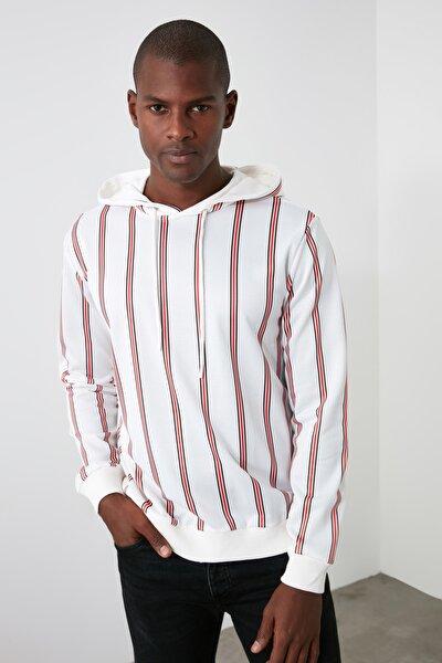 Beyaz Erkek Çizgili Kapüşonlu Bol Kesim Sweatshirt TMNSS20SW0151