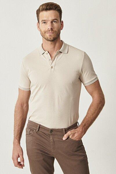Erkek Safari Polo Yaka Cepsiz Slim Fit Dar Kesim Koton Düz Tişört