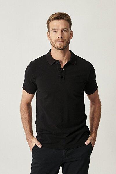 Erkek Siyah Polo Yaka Cepsiz Slim Fit Dar Kesim Koton Düz Tişört