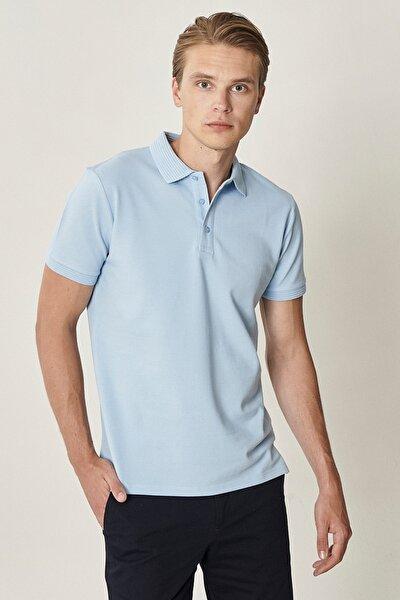 Erkek Açık Mavi Polo Yaka Cepsiz Slim Fit Dar Kesim Koton Düz Tişört