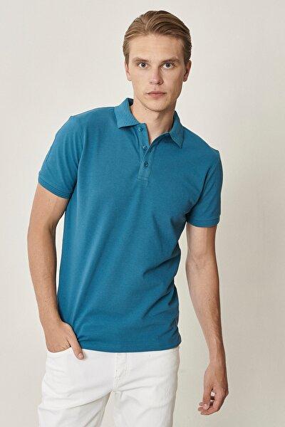 Erkek Havacı Mavi Polo Yaka Cepsiz Slim Fit Dar Kesim Koton Düz Tişört