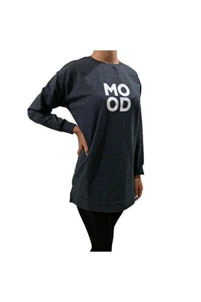 Kadın Antrasit  Koyu Gri Mood Baskılı  Uzun  Xlarge Sweatshirt