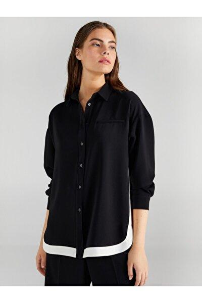 Kadın Siyah Yanı Konstrast Şeritli Tunik 61653