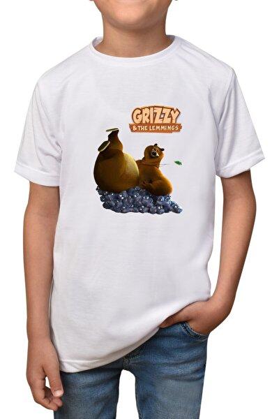 Grizzy Ve Lemmingler- Beyaz Çocuk T-Shirt T-14