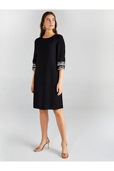 Kadın Siyah Payet Detaylı Abiye Elbise 61108