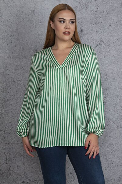 Kadın Yeşil V Yakalı Çizgili Saten Bluz 65N18477