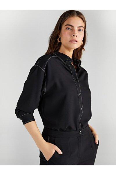 Kadın Siyah Kontrast Dikişli Gömlek 61306