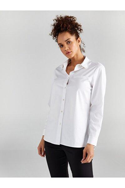 Kadın Beyaz Yakası Fırfırlı Uzun Kol Düz Gömlek 61326