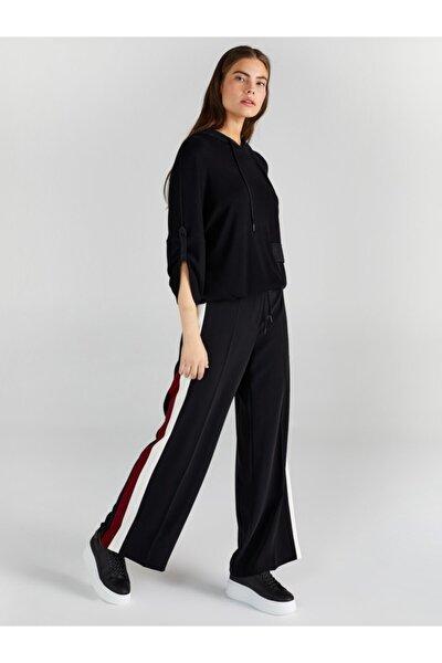 Kadın Siyah Yanı Kontrast Şeritli Wide Leg Pantolon 61528