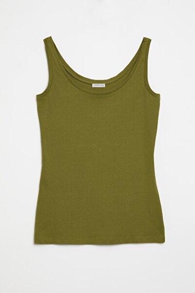 CLAIRE Kadın Yeşil Dar Kesim Kolsuz  T-Shirt