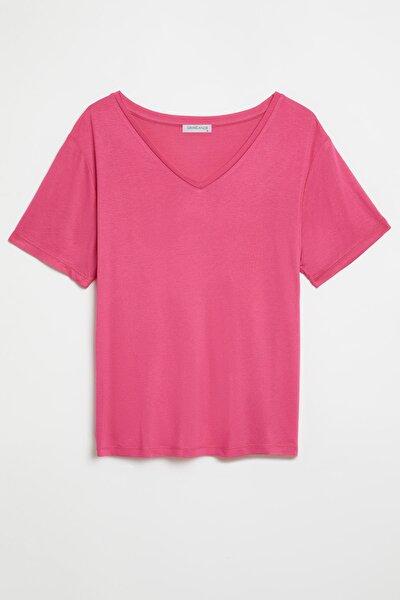 VIOLET Kadın Pembe Comfort Fit V yaka Kısa Kollu T-Shirt