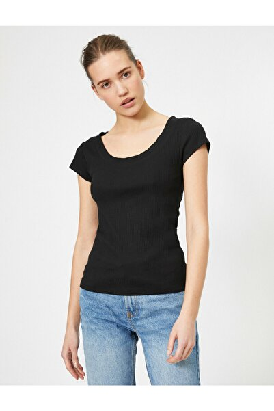 Kadın Siyah T-Shirt 0KAK13884EK