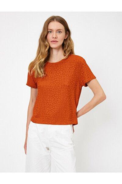 Kadın Kahve Leopar Desenli T-Shirt 0KAK13704EK