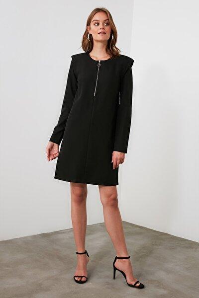 Siyah Fermuar Detaylı Elbise TWOAW21EL1381