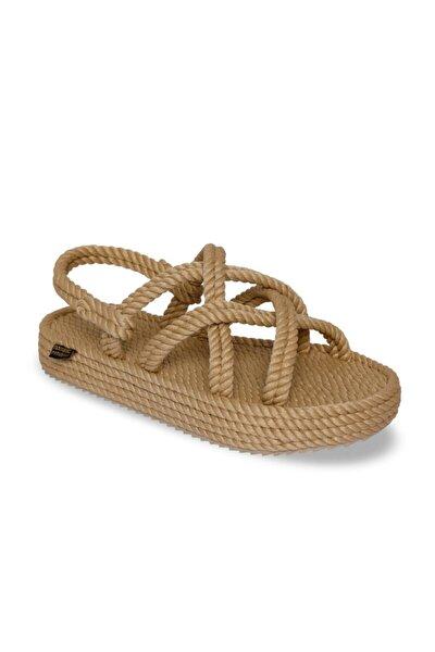Kadın Bej Bodrum Platform Kadın Halat Ip Sandalet