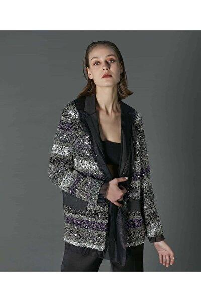 Kadın Siyah Payet İşli Saten Ceket