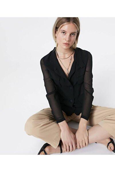 Kadın Siyah Şifon Mixli Ceket