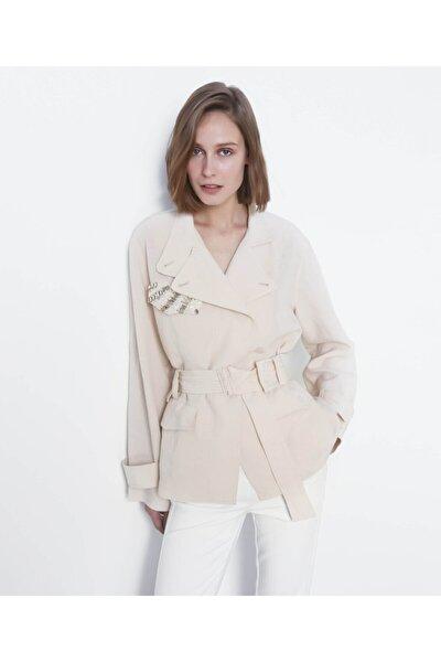 Kadın Pastel Pembe Kemerli Ceket