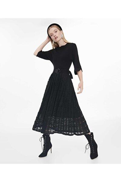 Kadın Siyah Triko Mix Elbise