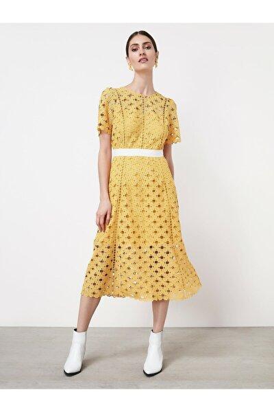 Kadın Açık Sarı Güpür Elbise