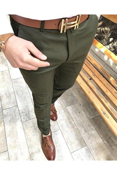 Italyan Kesim Slim Fit Mevsimlik Yeşil Kumaş Pantolon