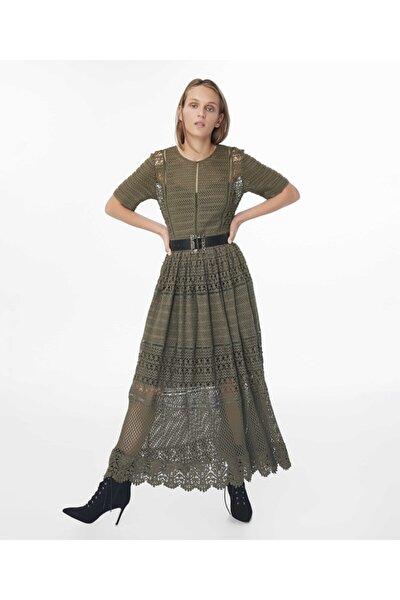 Kadın Haki Transparan Güpür Elbise