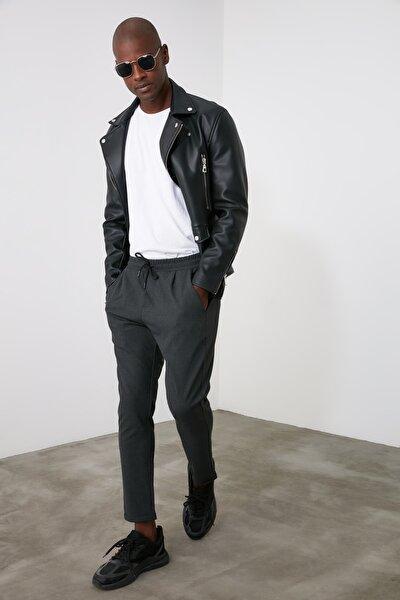 Antrasit Erkek Beli Lastikli Slim Fit Pantolon TMNAW21PL0107