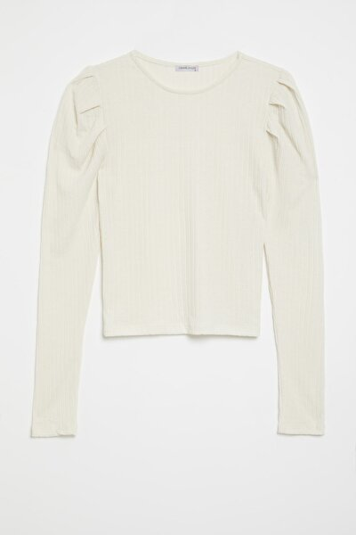 KIEV Kadın Beyaz Kolları Pileli Triko Görünümlü Uzun Kollu Bluz