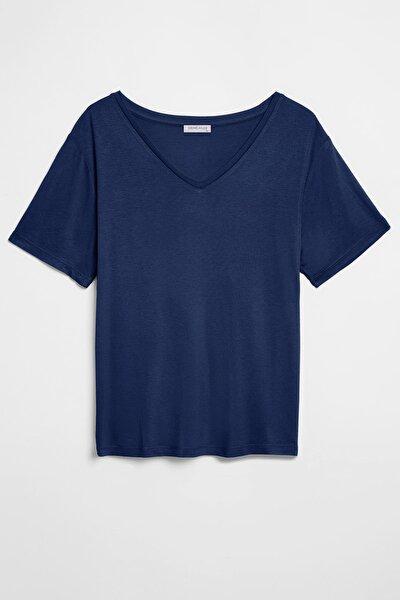 VIOLET Kadın Lacivert Comfort Fit V yaka Kısa Kollu T-Shirt