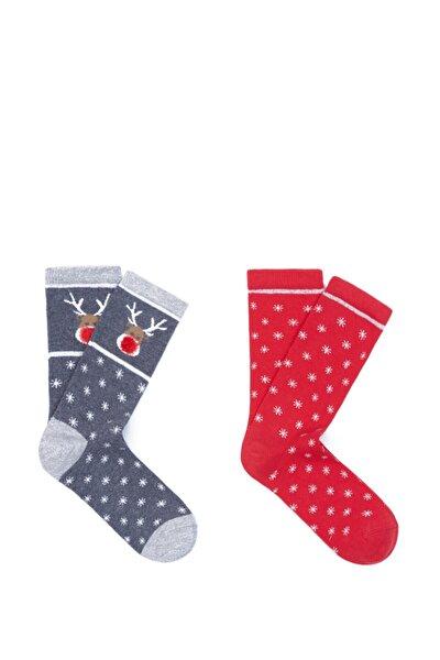 Yılbaşı Temalı Soket Çorap 2li