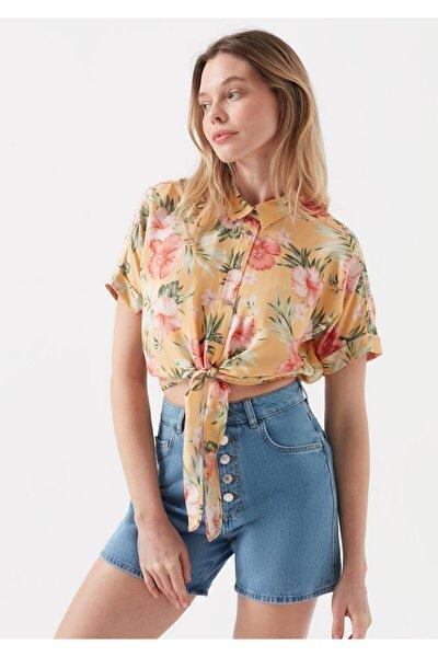 Kadın Sarı Desenli Bağlama Detaylı Gömlek 122522-31536