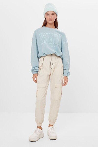Kadın Yeşil Elastik Kenarlı Crop Fit Sweatshirt