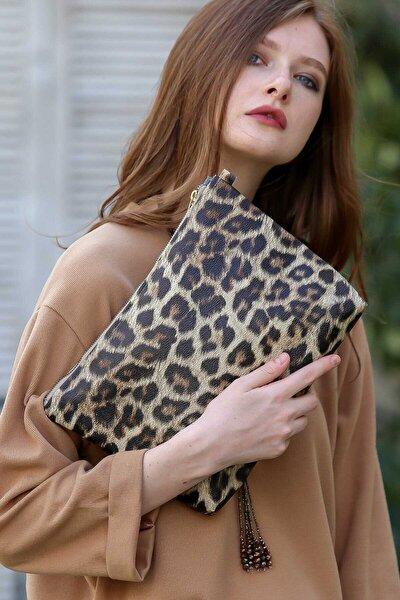 Kadın Casual leopar vegan clutch çanta C30090400CF97235
