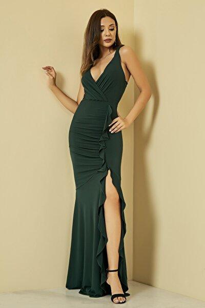 Kadın Zümrüt Fırfırlı Yırtmaçlı Uzun Abiye Elbise  STN107KEL120