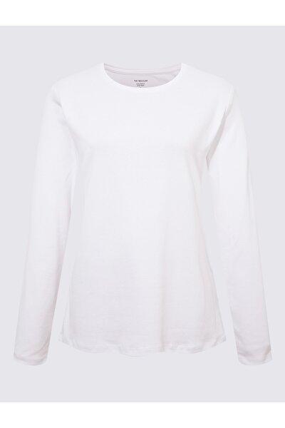 Kadın Beyaz Saf Pamuklu Uzun Kollu Bluz T41004590H