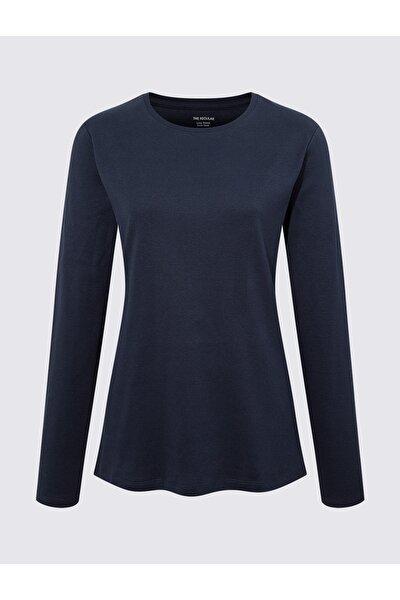 Kadın Lacivert Saf Pamuklu Uzun Kollu Bluz T41004590H