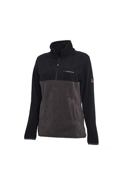 Kadın Siyah Yarım Fermuarlı Çift Renkli Polar Sweatshirt