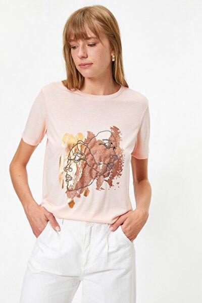 Kadın Somon T-Shirt 0YAK13004EK